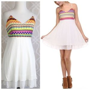 Dresses & Skirts - Boho Embroidered Double Layer Dress